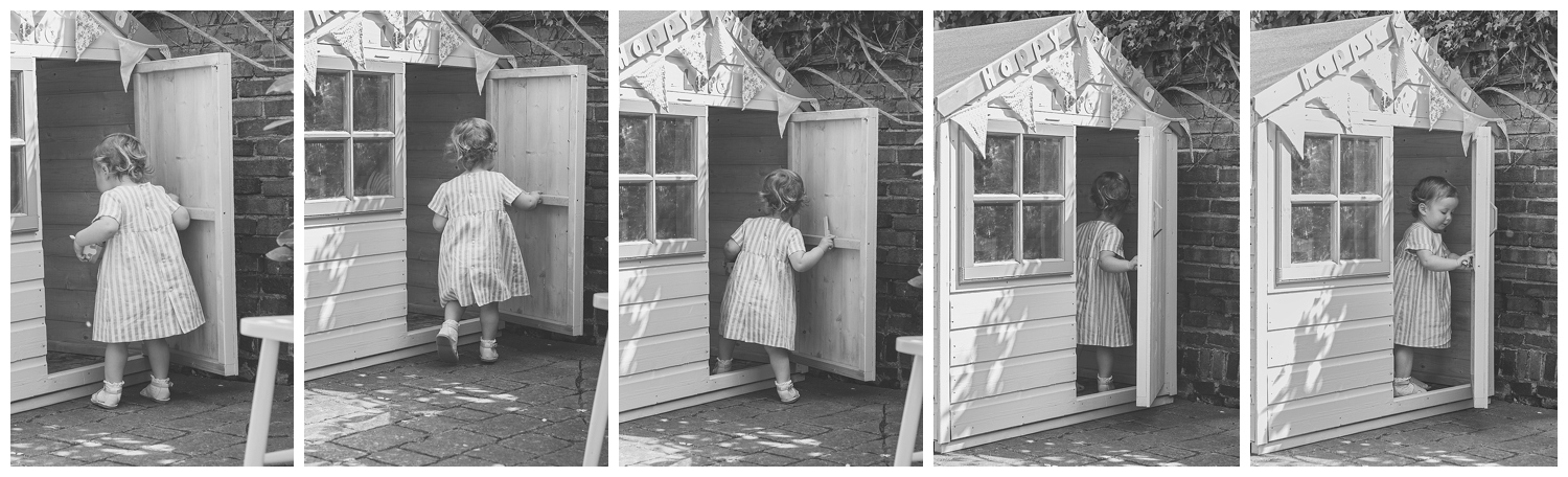 In a world all her own, little Lara walked with purpose to her Wendy House, and carefully closed the door behind her.