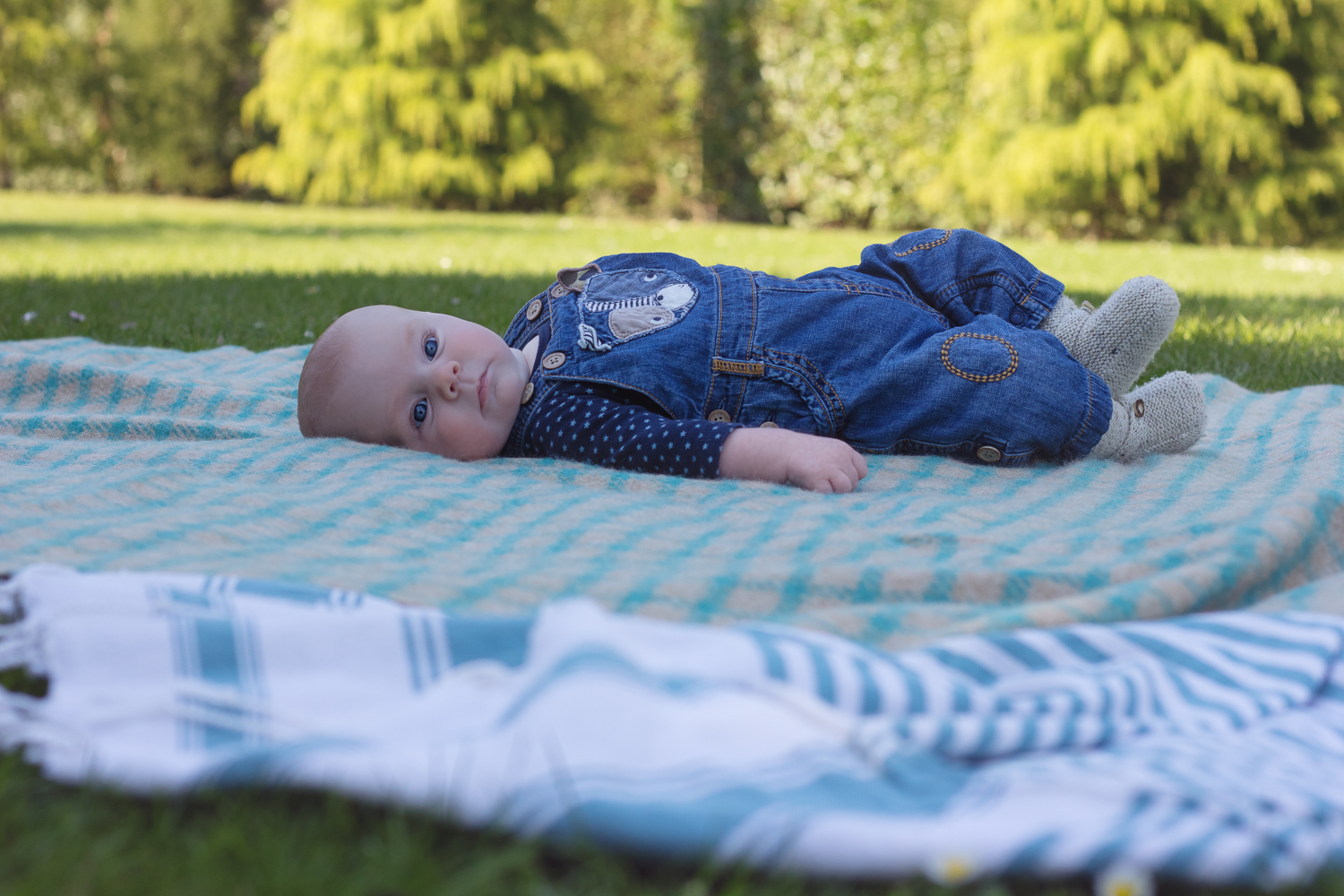 Baby boy in dungarees lying on a checked blanket looking over at the camera