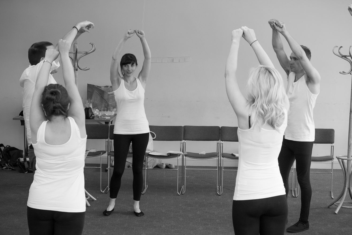 Ripped Script theatre company doing warm-up execrcies at Salisbury Playhouse