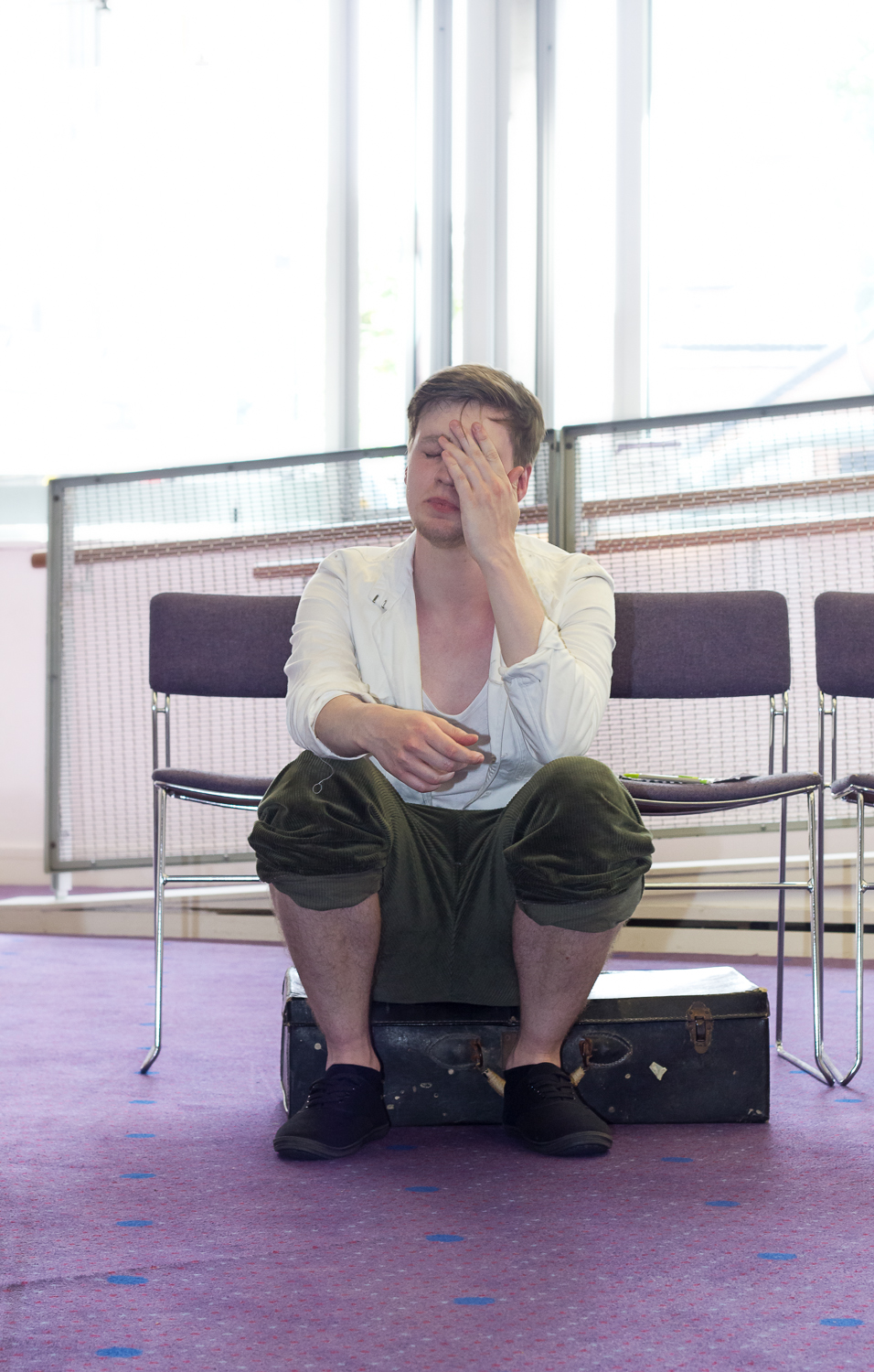 Male lead of Ripped Script theatre company rehearsaling his lines at Salisbury Playhouse