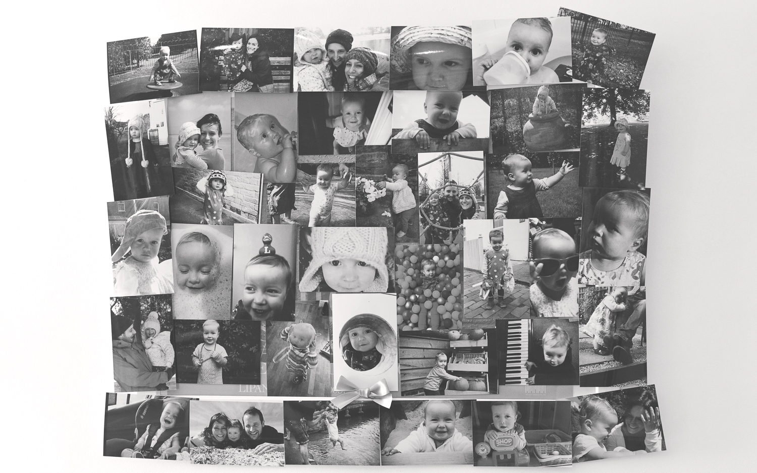 A photograph of all the photographs on the wall from the birthday girls past year