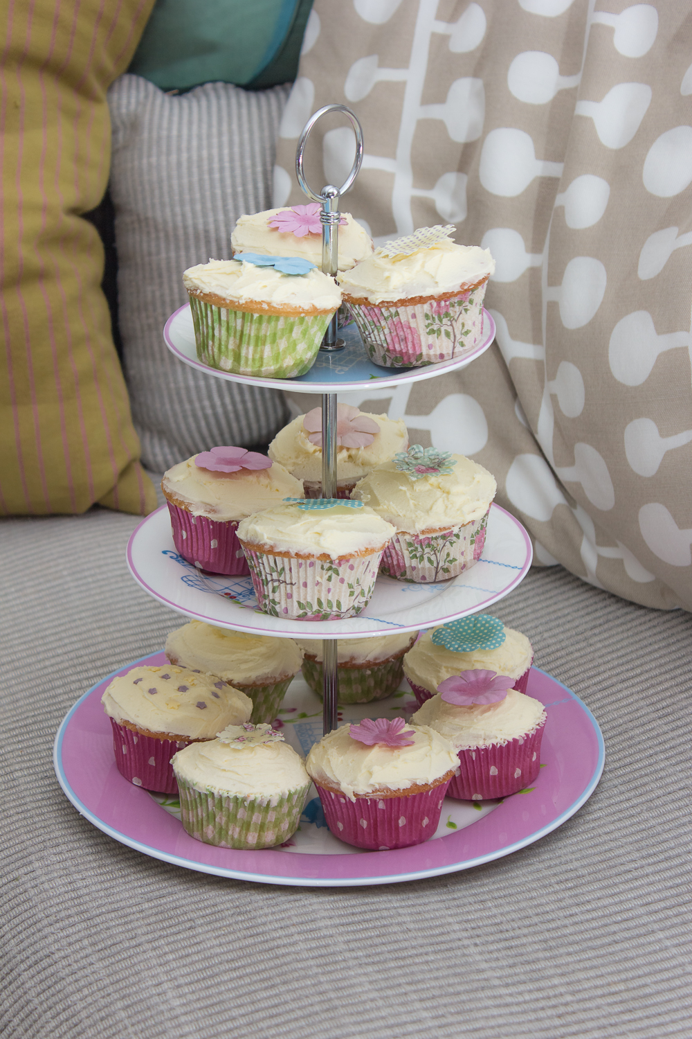Beautiful cupcakes on a tier at a child's birthday party