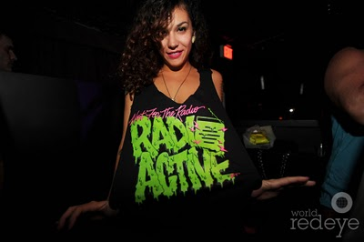 Jessy Nite wearing custom artwork at the Radio Active EP release party