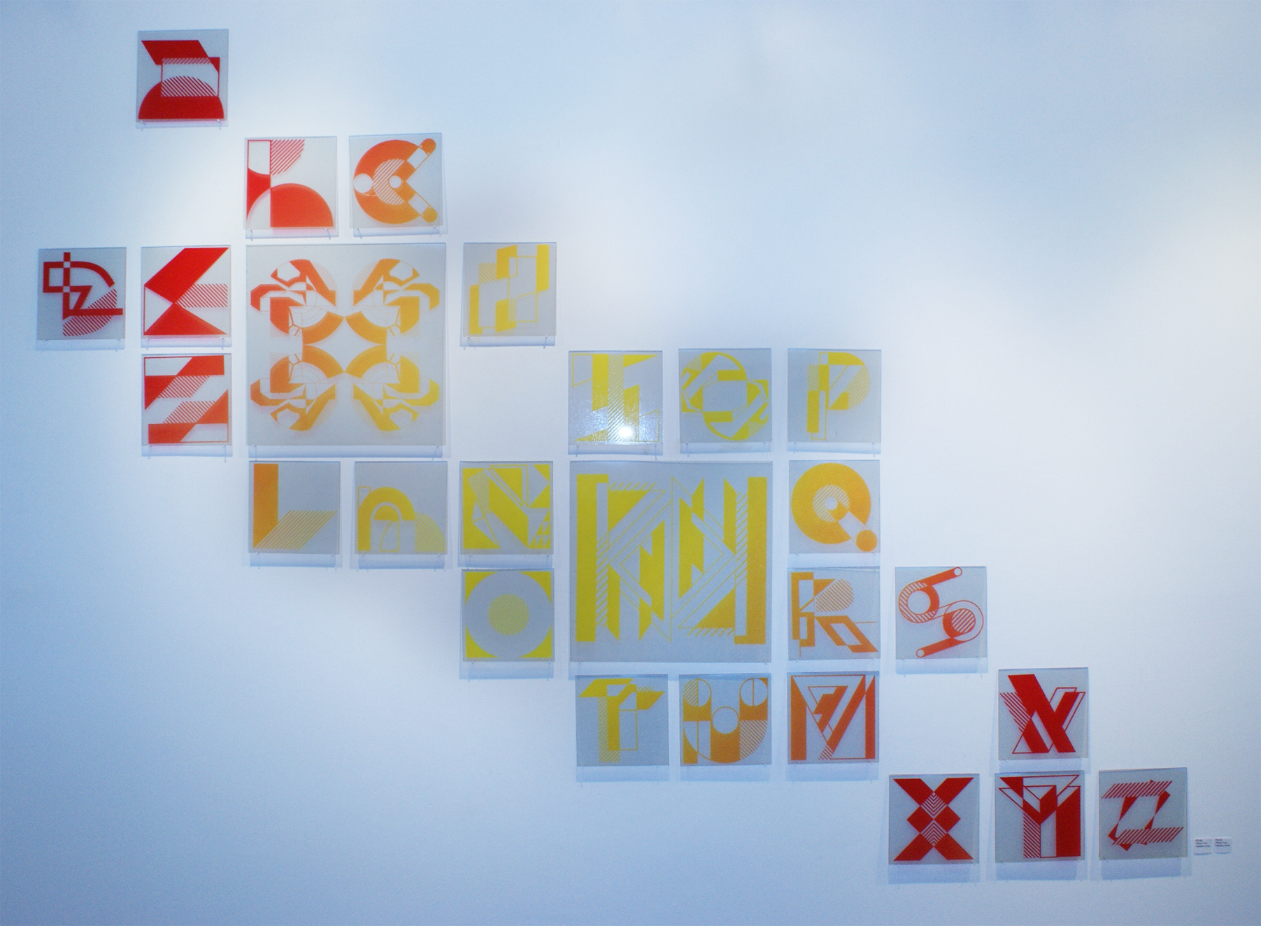 Miami Vice | Full Alphabet | 6in x 6in and 13in x 13in | Print mounted on plexi