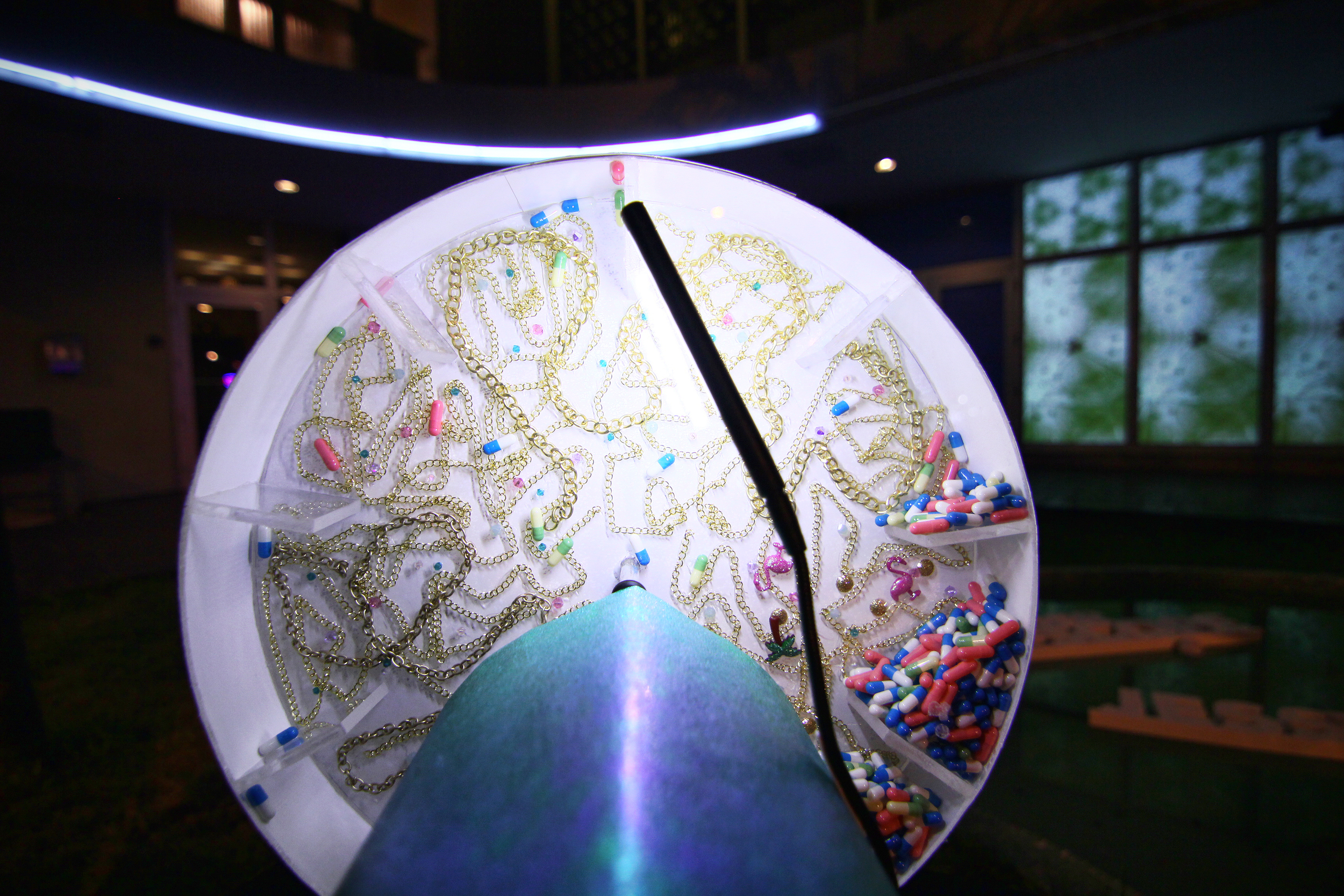 UNDER THE SCOPE (detail)- interactive installation using live video, projection mapping and audience participation