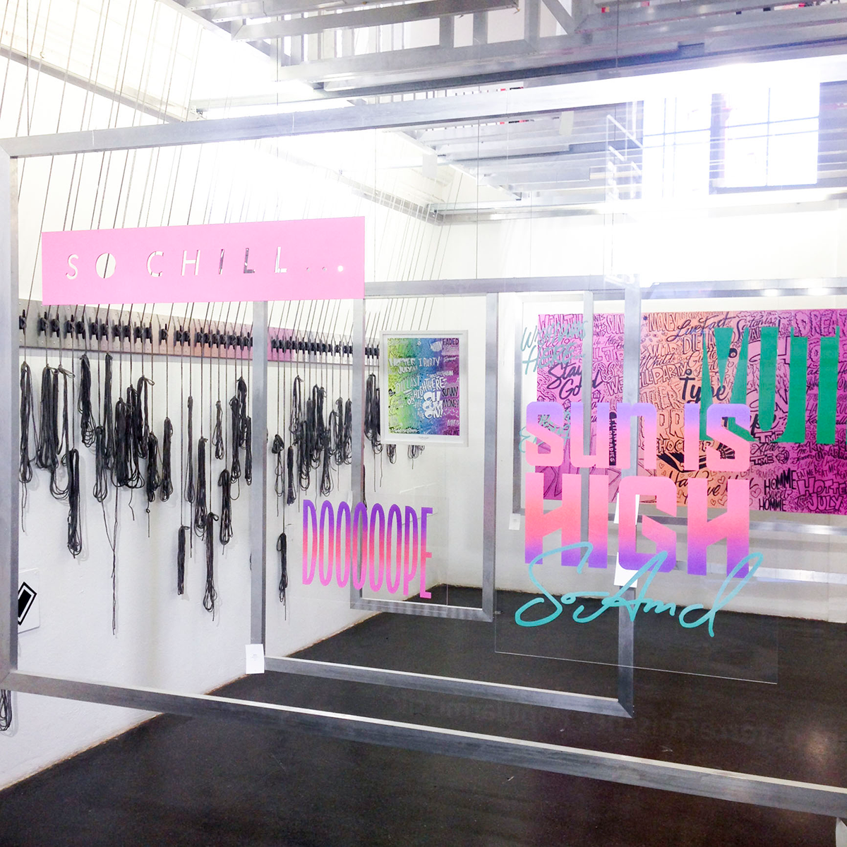 SO CHILL- solo exhibition, Vienna, (foreground works are spraypaint on acrylic glass)
