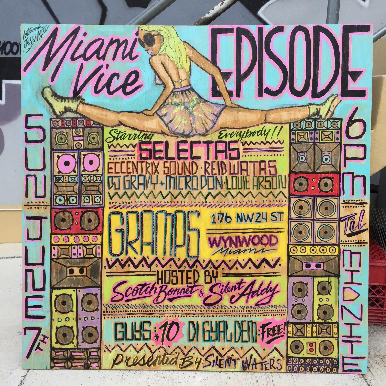 MIAMI VICE EPISODE- party flyer
