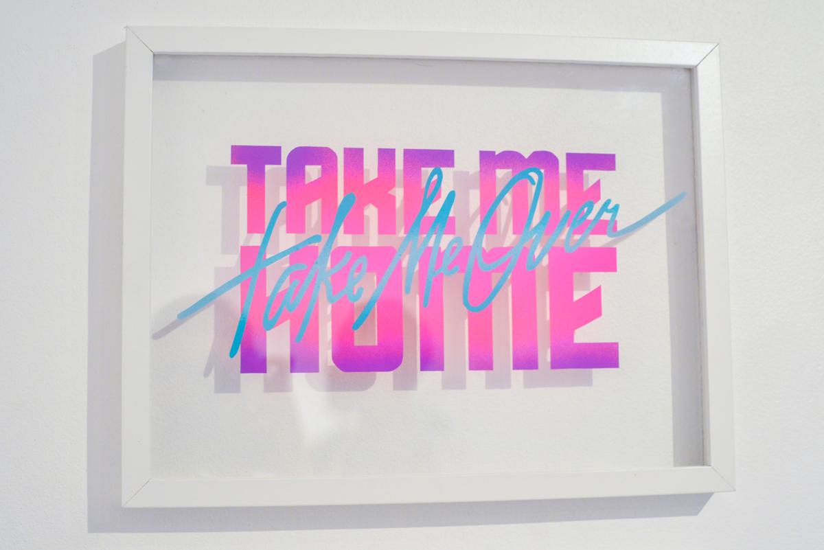 TAKE ME HOME/TAKE ME OVER- spray paint on acrylic glass