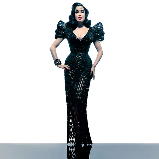 Apparently the world's first 3-D printed dress (in 2013! Where have I been!) by artist  Michael Schmidt , worn here by Dita Von Teese.