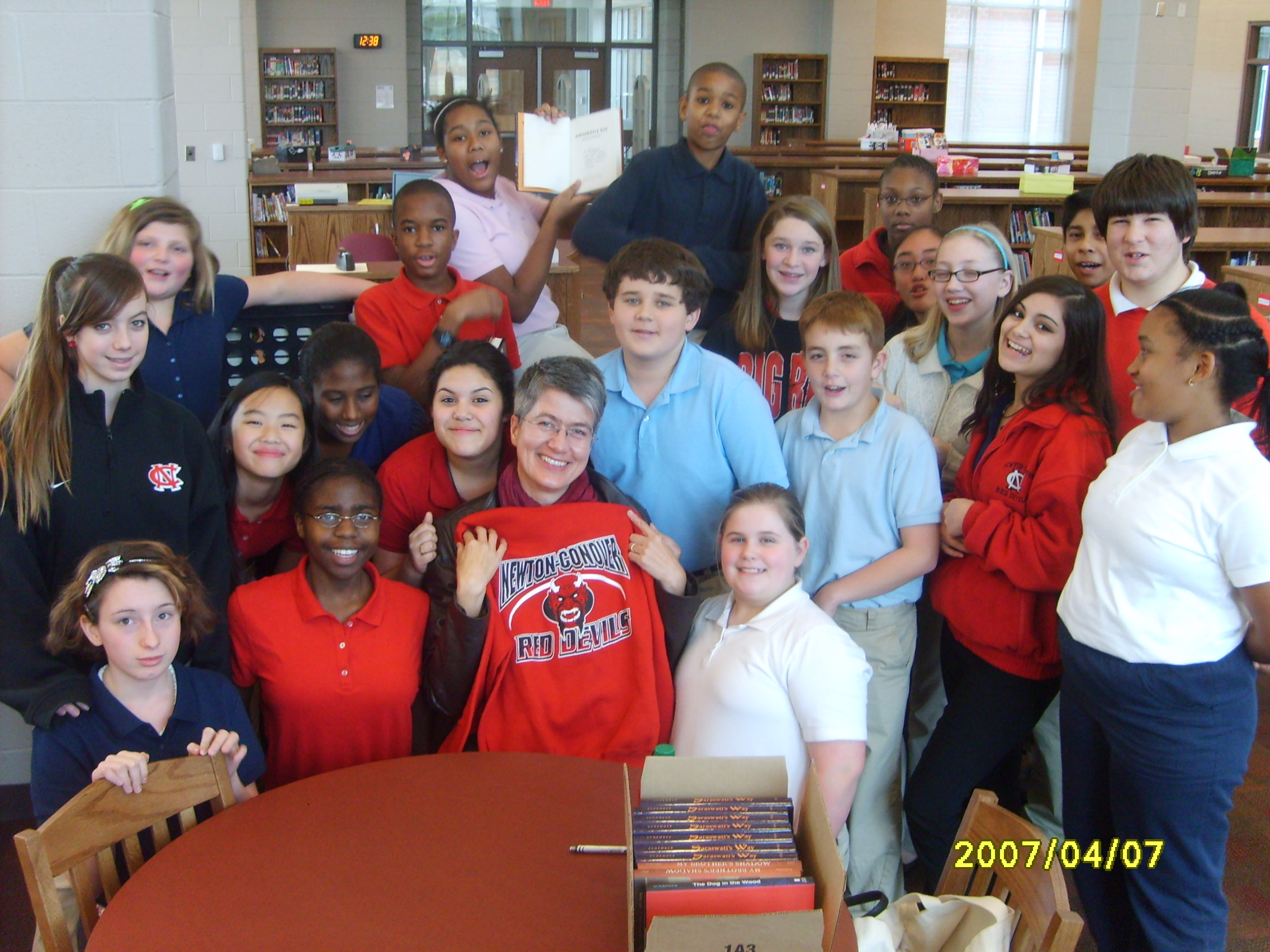 I had lunch with the Battle of the Books team and they gave me a 'Red Devils' sweatshirt.