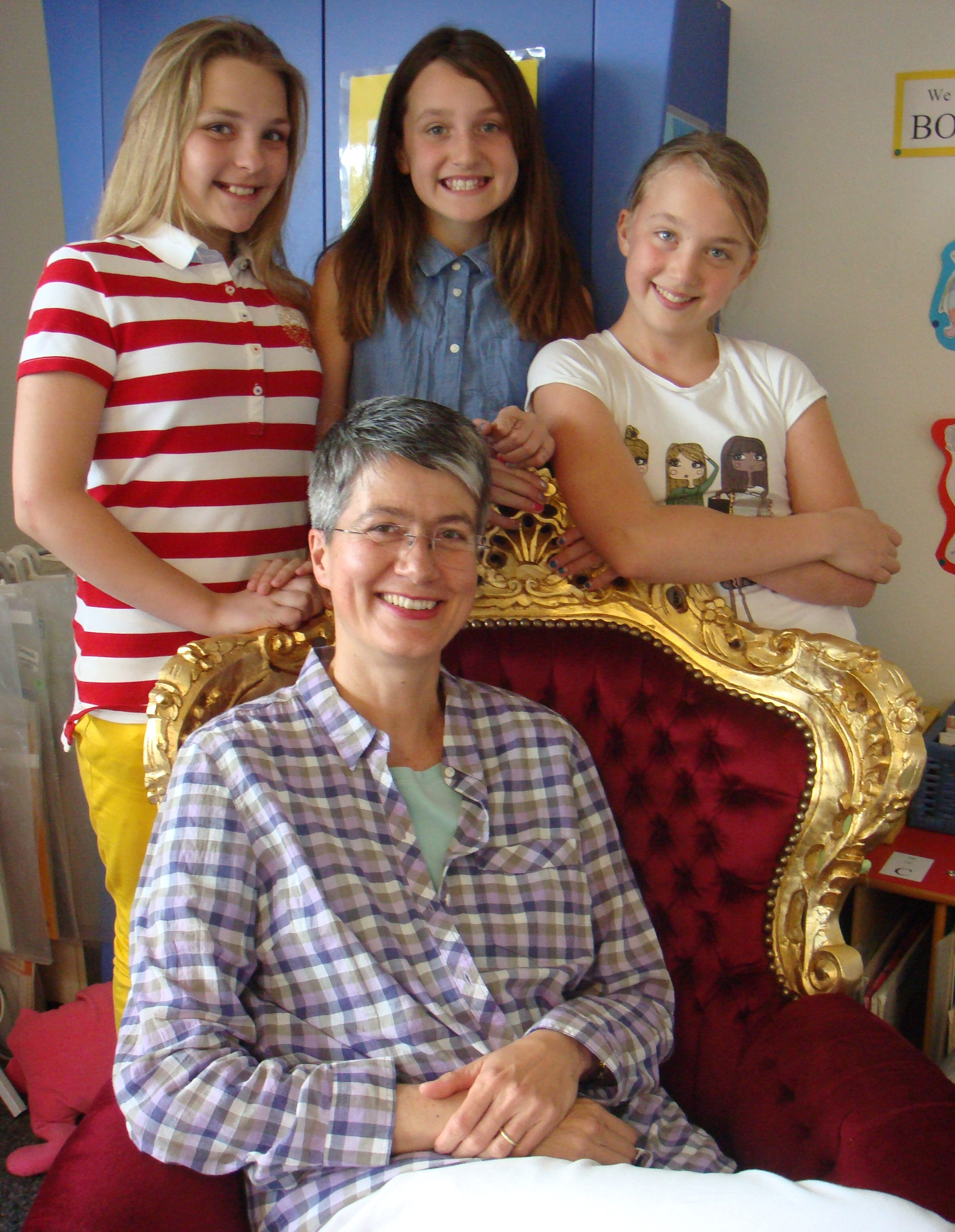 I had a wonderful visit with fifth graders at the International School in Stuttgart, Germany. Thank you, Betty Turpin, for letting me sit in that royal chair!