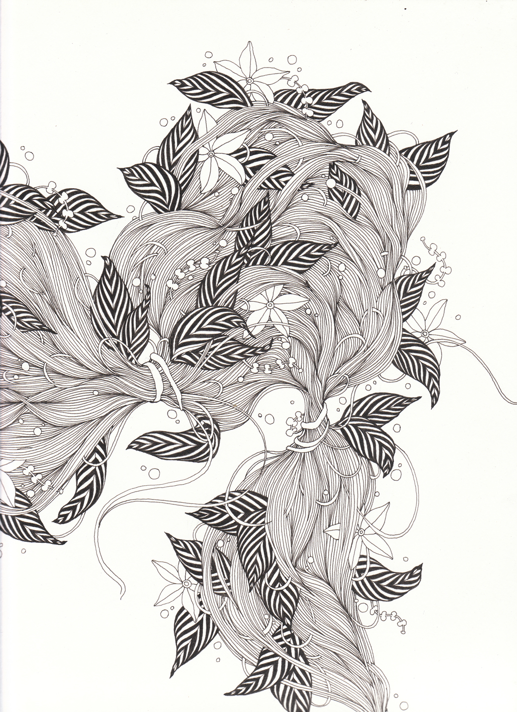 """Hair I, 9"""" X 12"""", ink on paper, 2011 SOLD"""