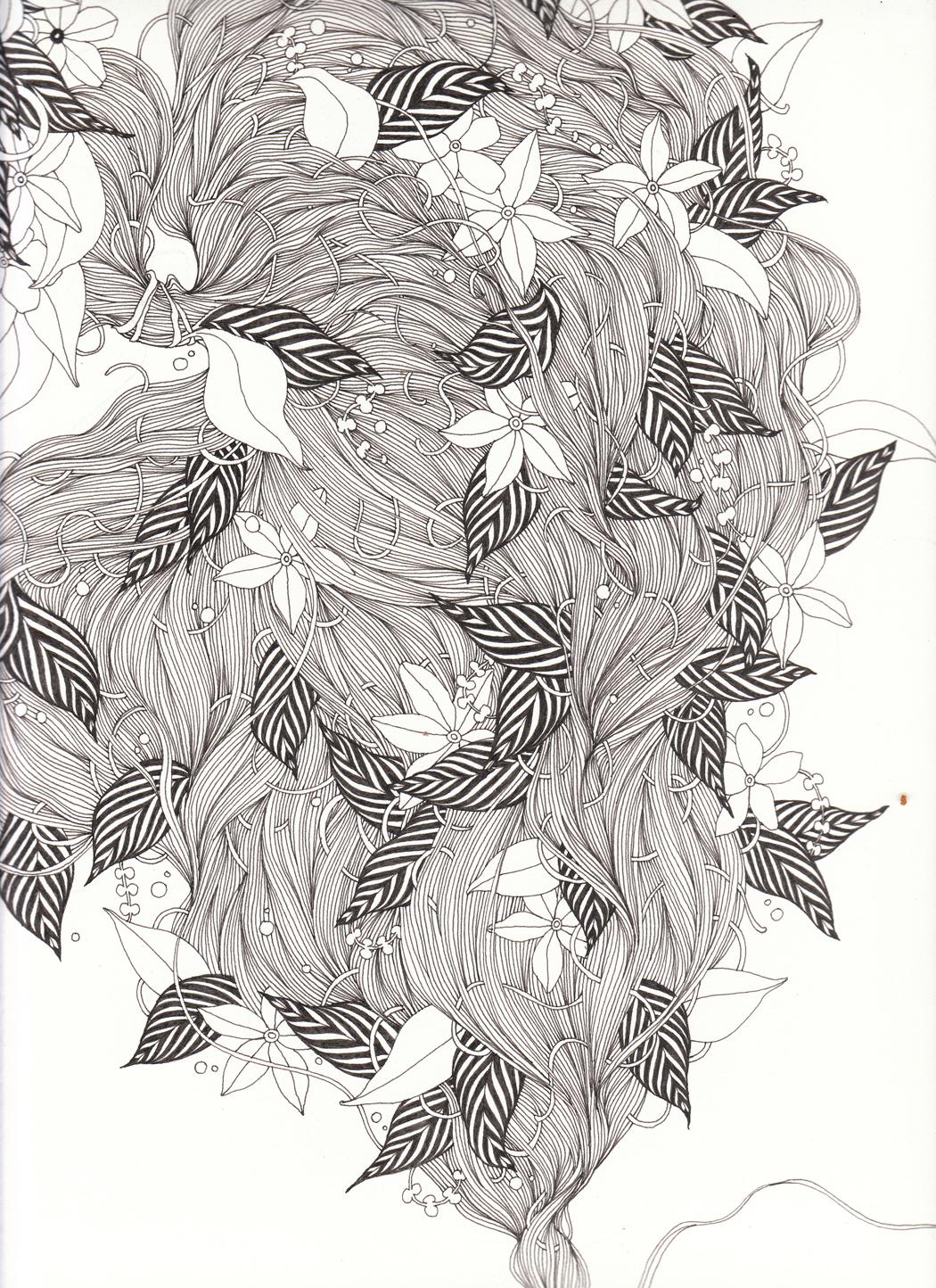 "Hair II, 9"" X 12"", ink on paper, 2011"