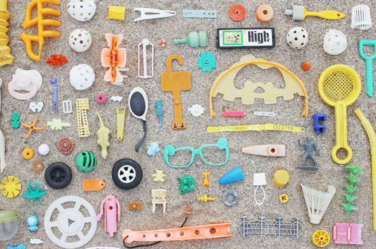 I'm mesmerized by this photo - The artist's name is Kaylah, and she writes a blog called the Dainty Squid. This is her collection of what washed up on her beach shore at Lake Erie