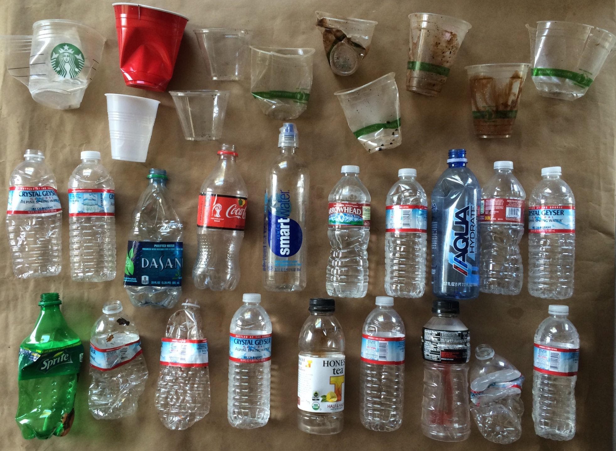 these were the water bottles (some of them we're almost full of water, that got me thinking about fresh water trapped in landfills)