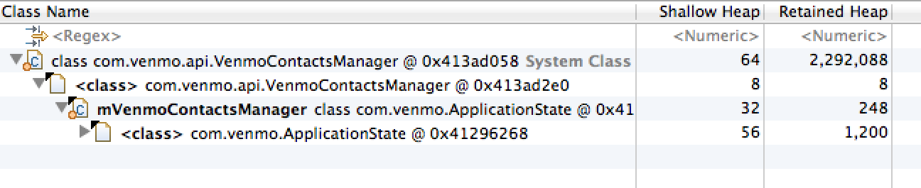 Looking for the GC root of mVenmoContactsManager