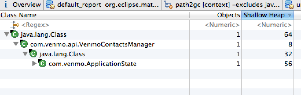 Drilldown into the single incoming reference to our contact manager object