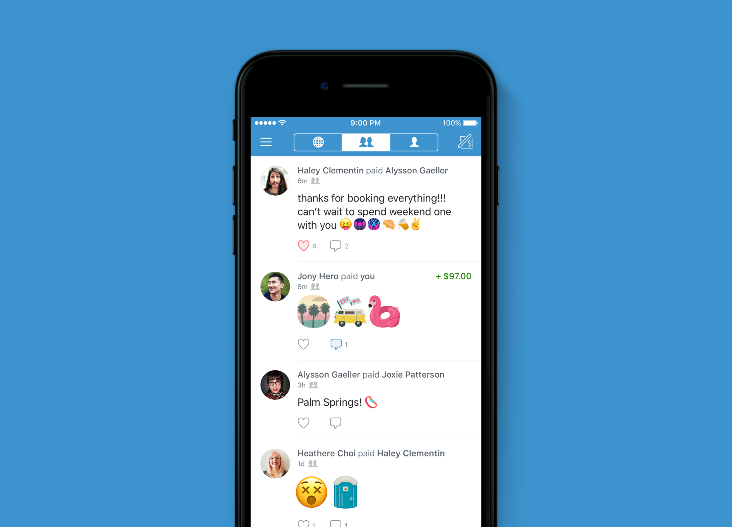 Custom festival emojis in the Venmo Feed