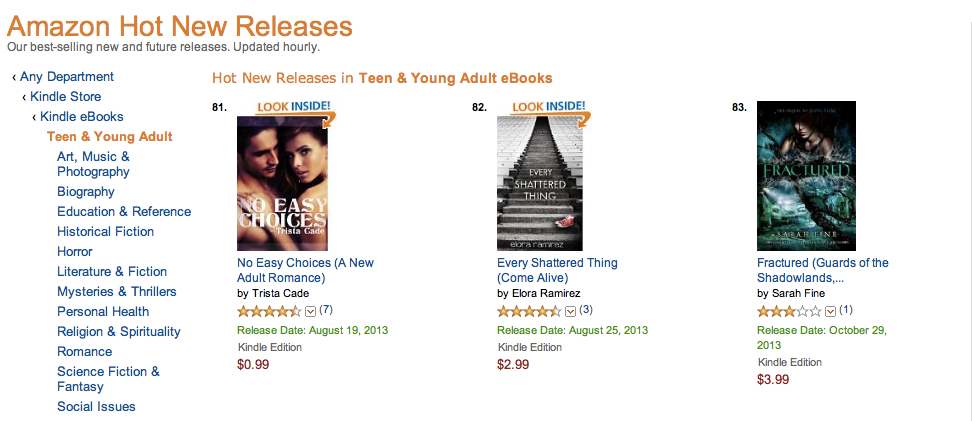 Seeing my name & title in Hot New Releases was probably the most surreal of the month. And then it kept moving higher.