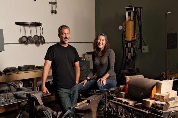 Pictured: Modern day blacksmiths: Blu Skillet Ironware's Patrick Maher and Caryn Badgett, at their Ballard Metal Arts studio    PHOTO CREDIT:    Hayley Young