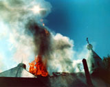 The fire that destroyed the original Church of the Nativity