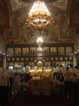 The interior of the Church of the Nativity during the Paschal vigil