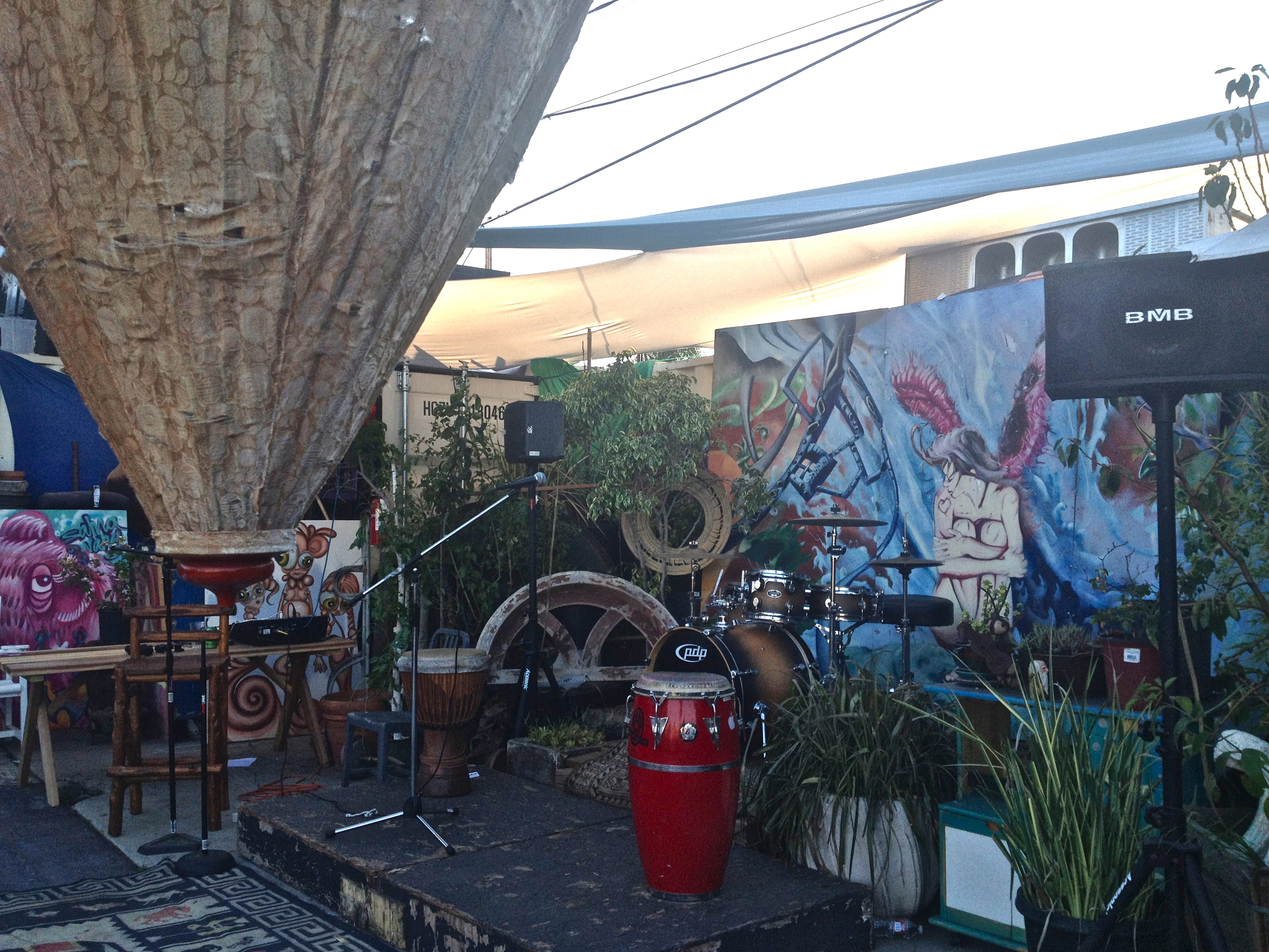 Empty stage at the Venice Love Shack. Live music was put on pause while everyone was invited to join in a worldwide moment of meditation for  World Peace Day .