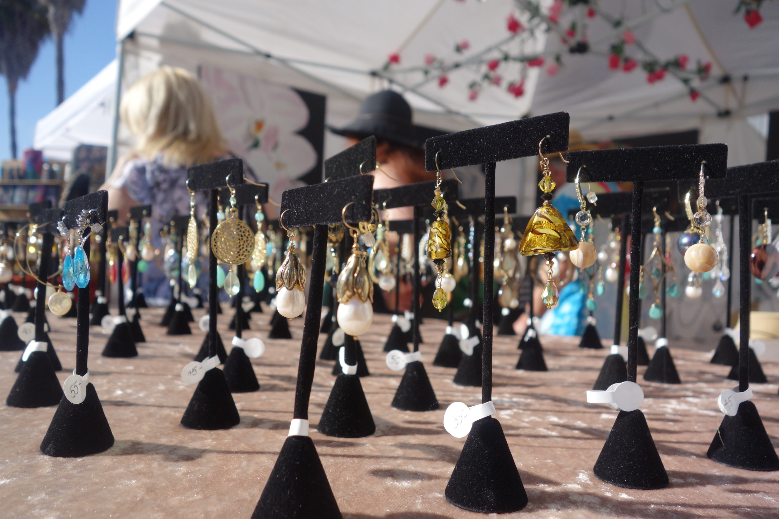 Earrings display at the Abbot Kinney Festival. (Photo by Nicole Reed)