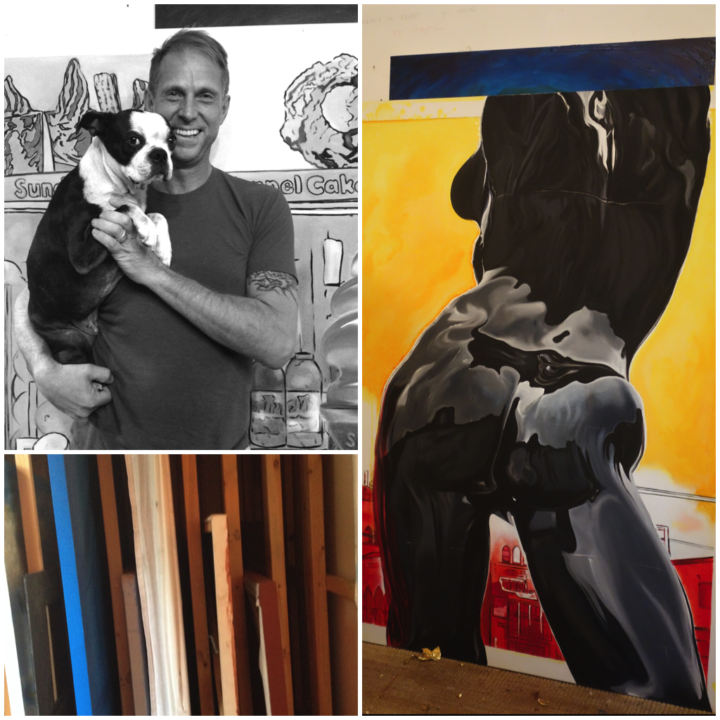 Patrick Marston and Tonka pose for a photo inside the green garden bungalow where Marston paints and treats guests to Champagne, berries and potato chips. His latest paintings, like this one featuring the statue at Windward Circle, are adaptations of his Instagram shots taken around Venice. Follow him at  @venicebeachartist .