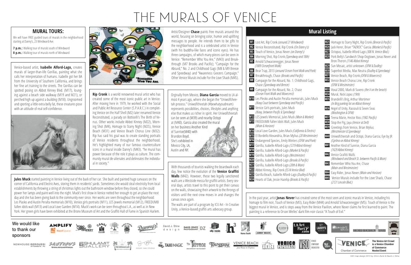 Venice Art Crawl Map of Murals