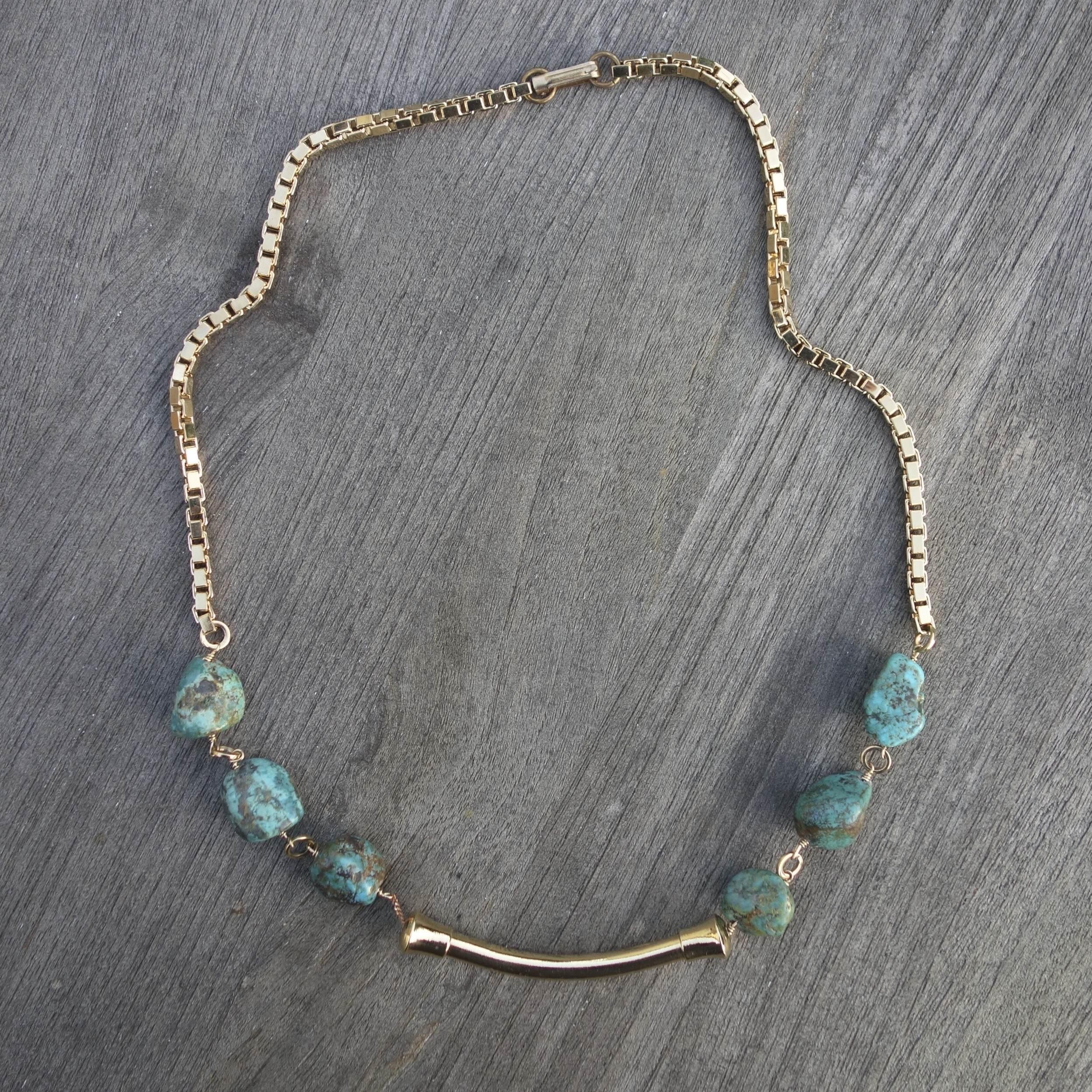 Sid Vintage Jewelry:  Turquoise & Gold Necklace , $210.