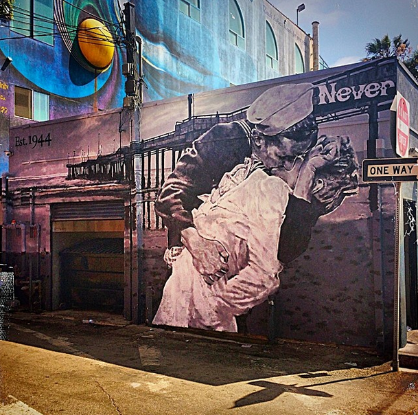 """Instagram post by muralist  Jonas Never : """"Getting a start on the #4thofjuly with the new finished #mural at the #venicewhaler ... Had a great time seeing all the familiar faces from when I used to work there #venicebeach #cultclassic #lordofdogtown."""""""