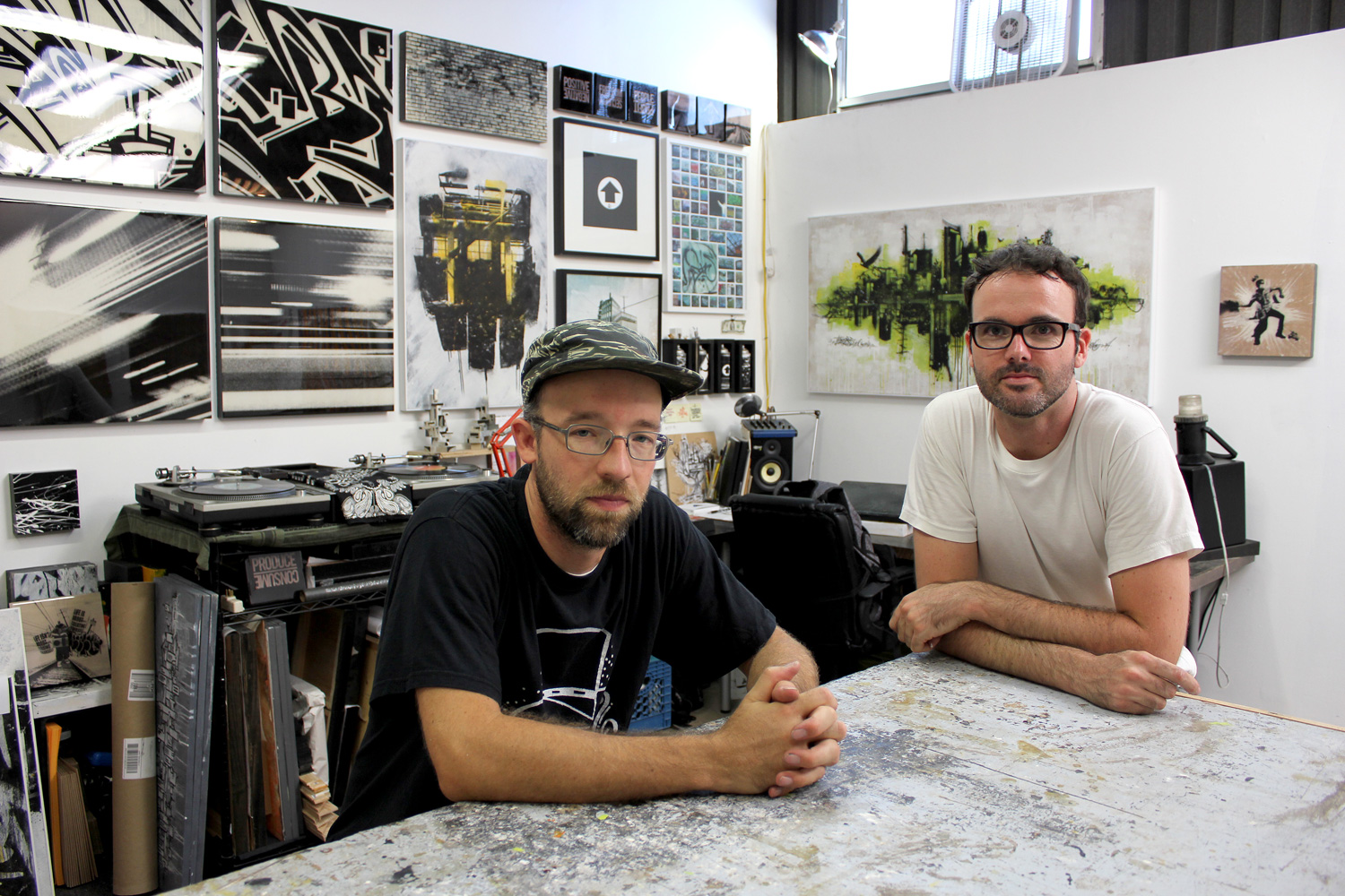 Bisco Smith and Dfalt, friends who met more than 14 years ago in New York, work together in their studio loft above WNDO.