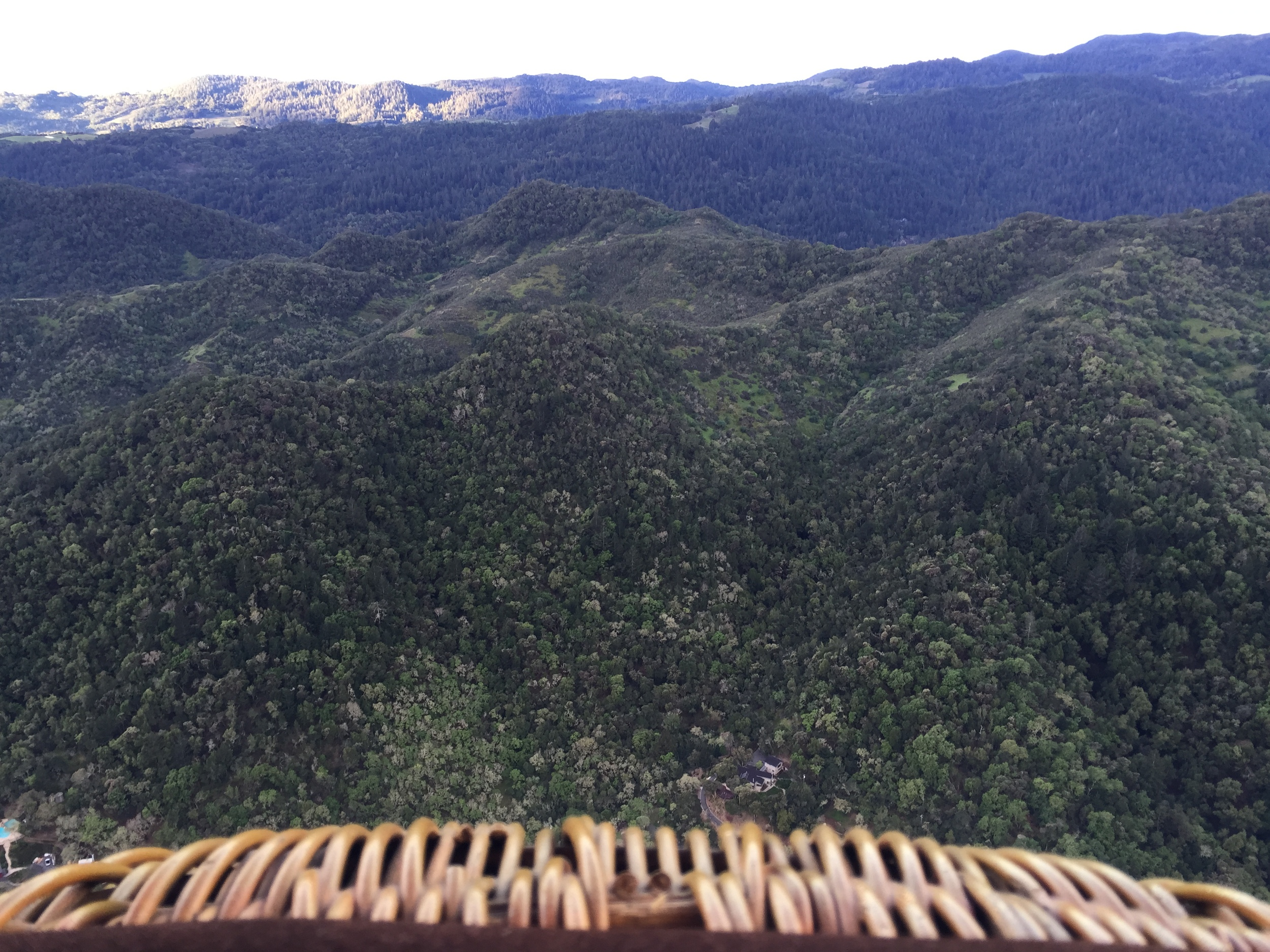View from the edge of ourwicker basket3,000 feet above the vineyards.