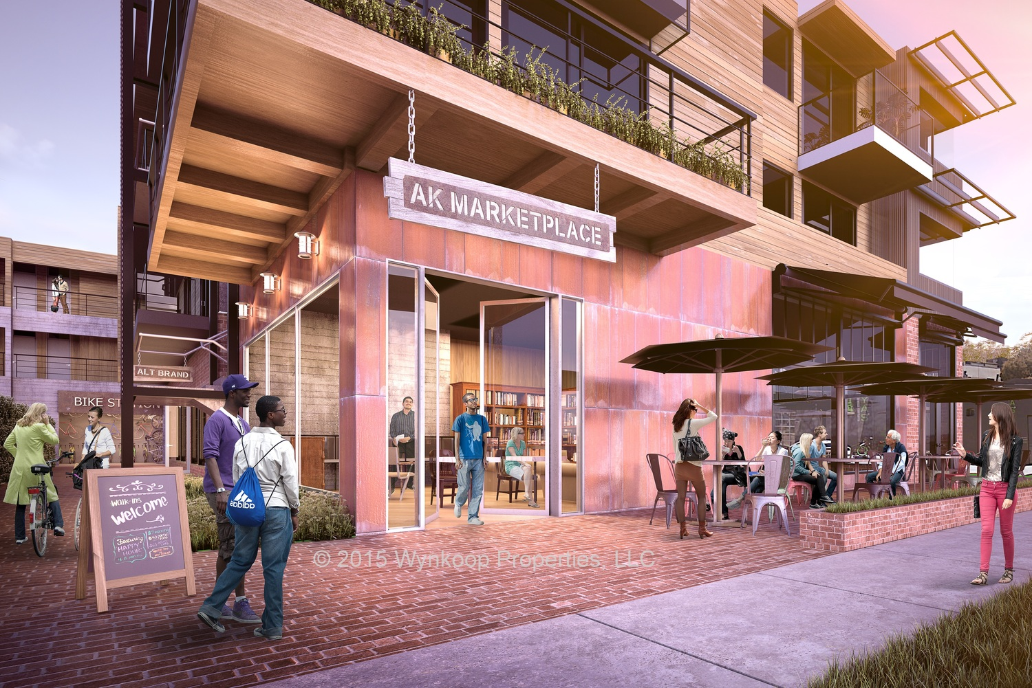The Westminster building at the southern corner of Abbot Kinney and Westminster Ave. The ground floor would be a mix of retail, a general store or marketplace with asmall cafe and office space. Hotel rooms occupy the second and third floors.