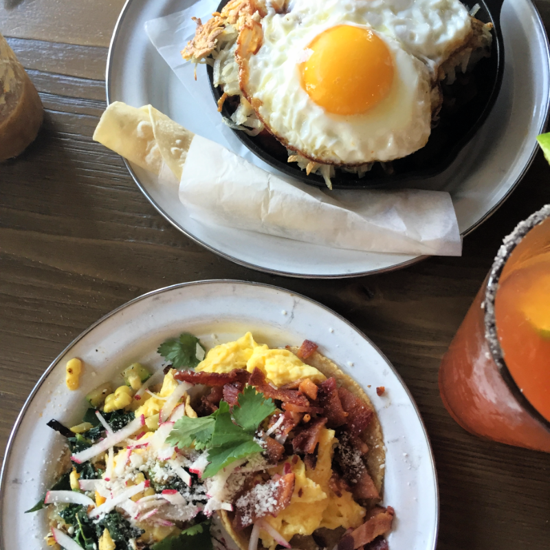 Breakfast tacos, breakfast skillet and a spicy michelada. ( Photo by Nicole Urso Reed, @lincolnandrose .)