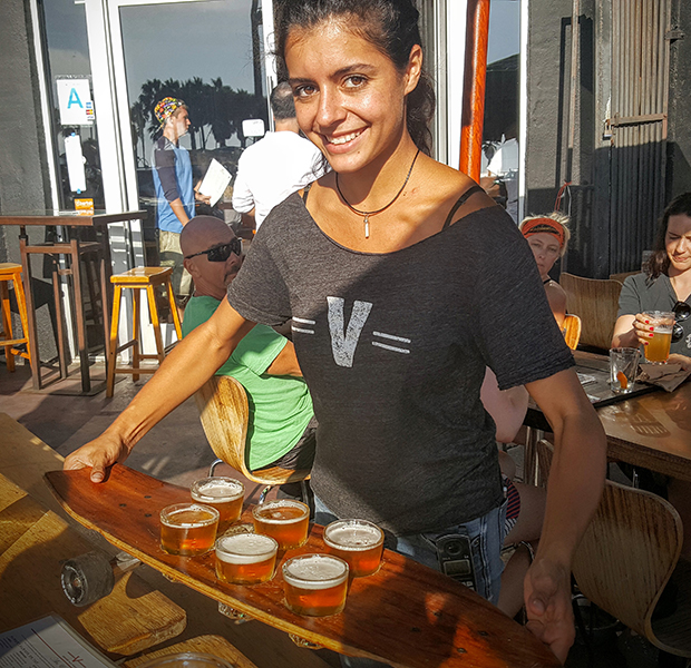 A flight of craft beer at the Venice Ale House welcomes guests of the Venice tour.