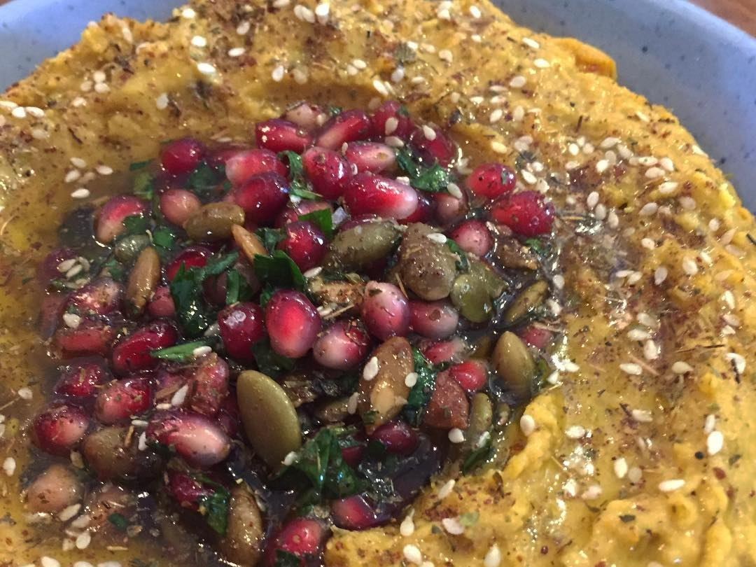 Pumpkin hummus with pomegranate pepita salsa. ( Photo by  The Rose  )