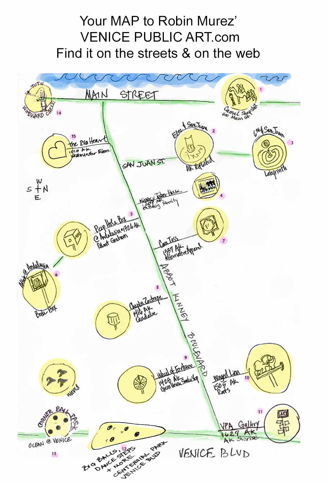 Map of Robin Murez' public art installations via  Venice Public Art
