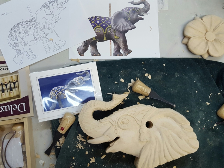 Murez' carving table at the Albany studio where she spent much of last month studying the craft. ( Photo by Robin Murez )