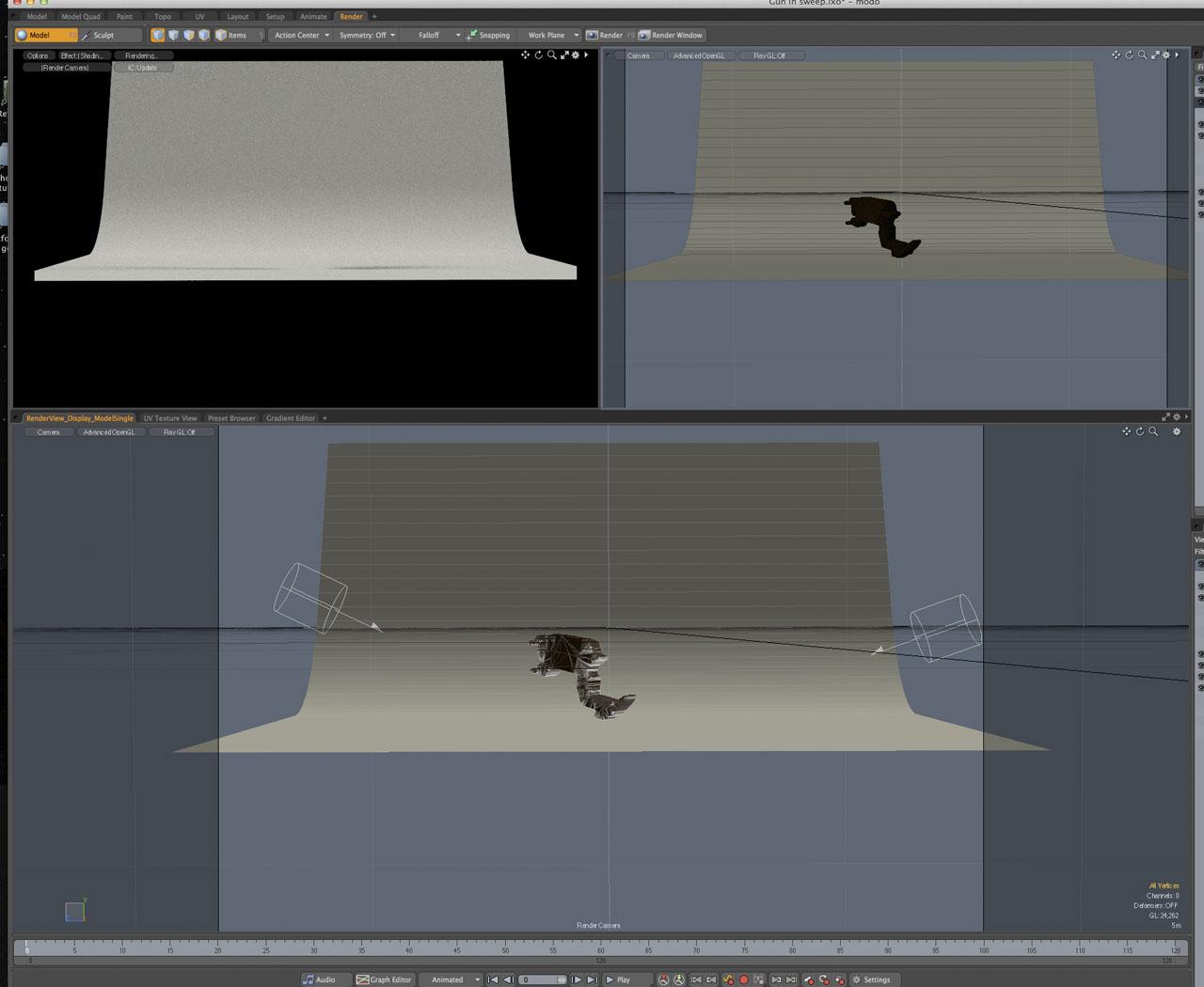 Sweep, gun block model and lights in Modo.