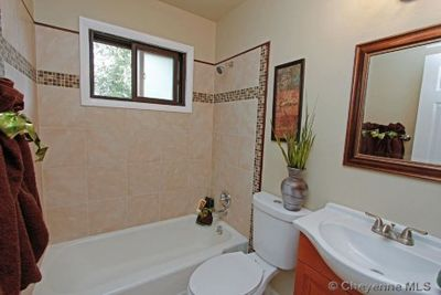 An updated bathroom was included in this renovation