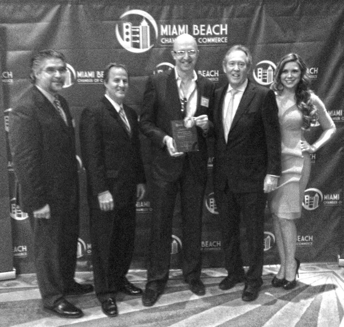 Photo (L to R): Jury head Reinaldo Borges, AIA; MBCC Chair Michael Goldberg; Allan Shulman, FAIA; MBCC President Jerry Libin; Miss South Beach Melissa Barragan-Shaw.