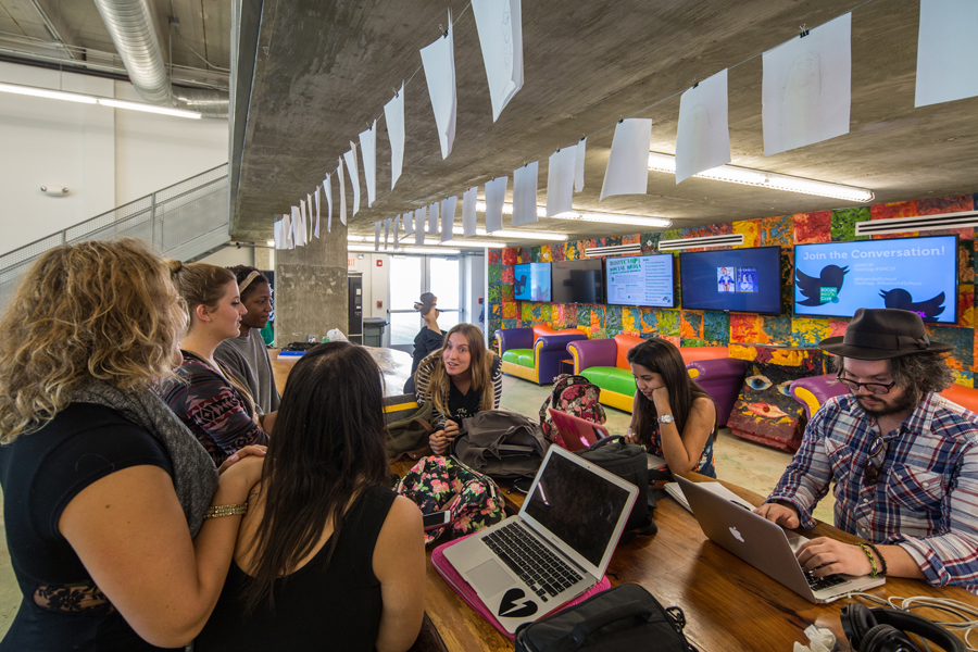 Spaces are flexible and promote interaction and connection among students and faculty.