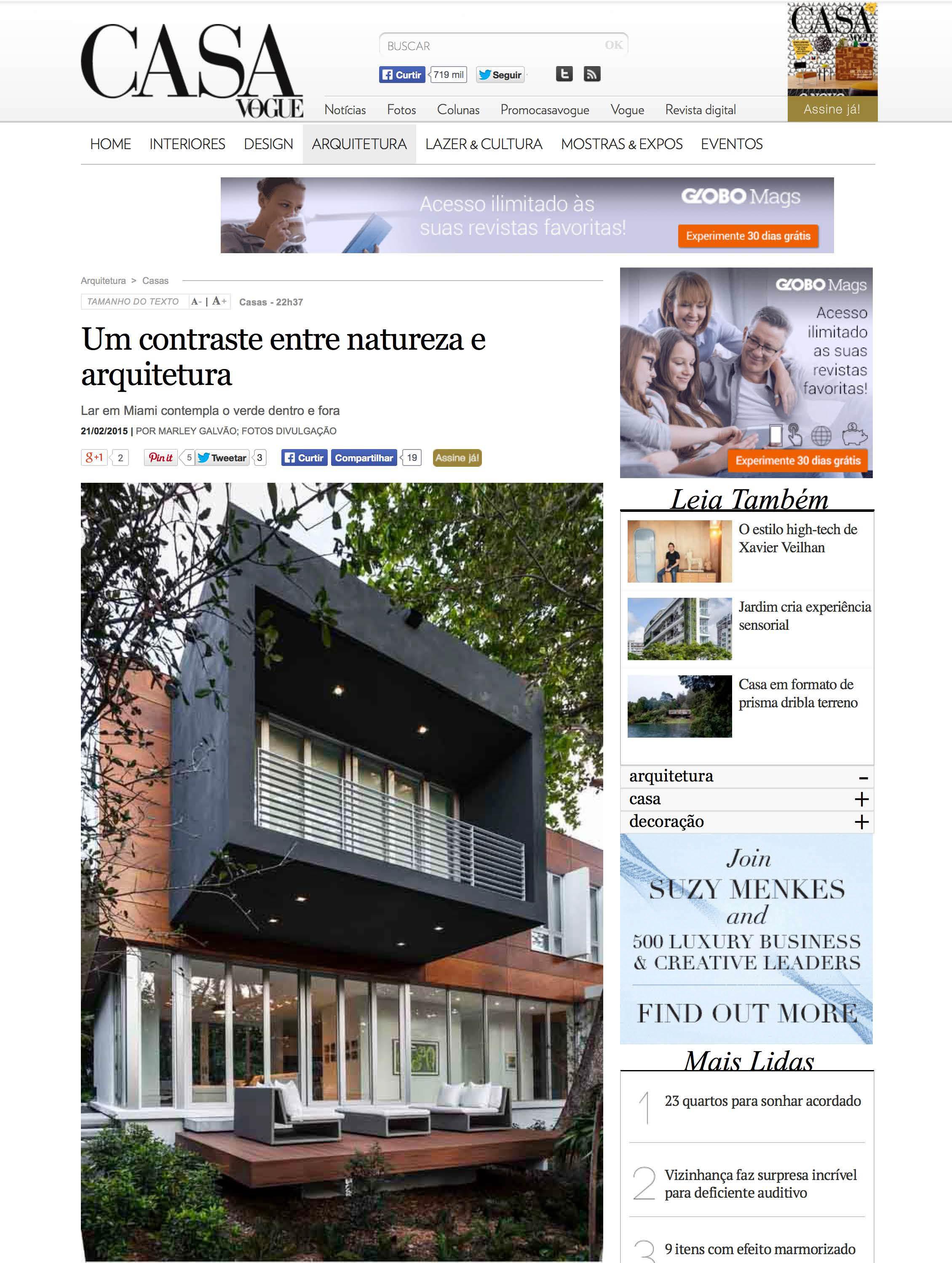"""Camp Biscayne house featured in Marley Galvao, """"Um contraste entre natureza e arquitetura,"""" Casa Vogue (Brazil), February 2015      MORE >>"""