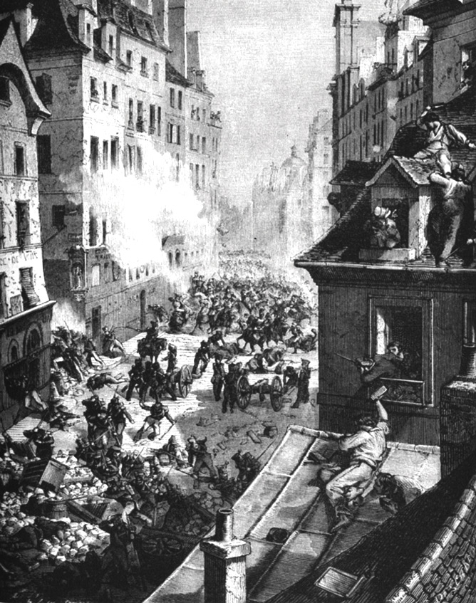 Barricades were constructed from what was at hand: paving stones, masonry, trees, iron railings, carriages … And they were defended by people throwing rocks, pots, garbage and more from roofs, balconies and windows. In 1848, barricades were an unbeatable protest tactic.