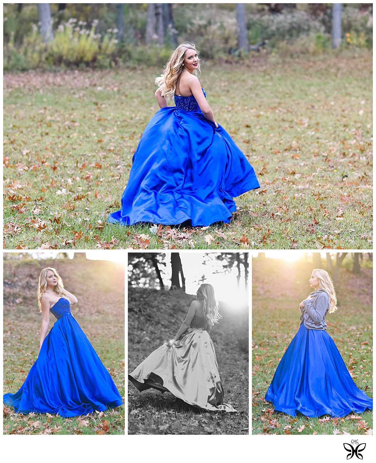 This blue dressed inspired our photo session number 2! We got lucky with the sun setting there and making her look like an angel.