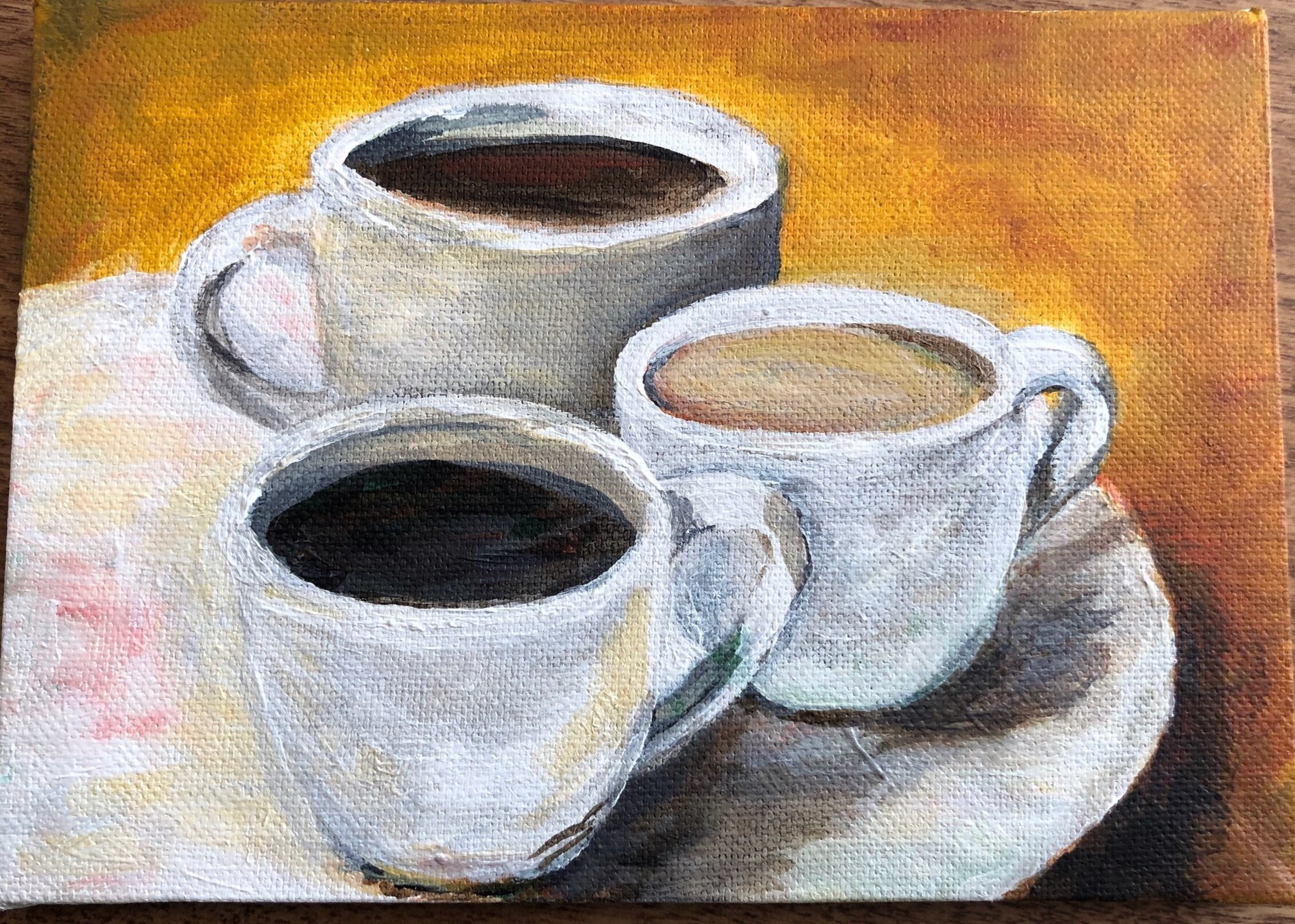"""Coffee Mates"", original acrylic on 5""x7"" canvas by Renee Fontes"