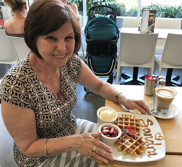 A much loved Crema Springfield regular Sandra enjoying her favourite Salted Caramel Waffle 😃