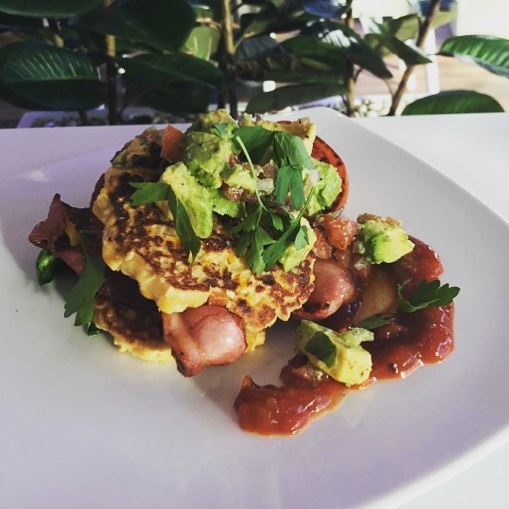 Gourmet Corn Fritters from our delicious new menu in store now. #fritters #breakfast #lunch #avocado #delicious